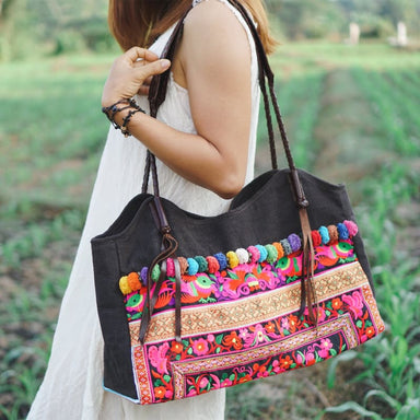Embroidered Multicolor Hmong Shoulder Bag in Fabric - Shoulder Bags
