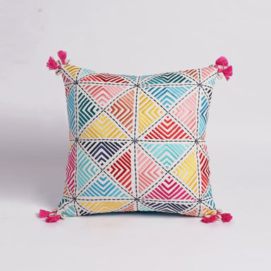Embroidered Multicolored Pillow Cover - Cushions & Pillows