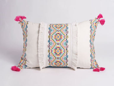 Embroidered Multicolored Pillow Cover in Cotton - Cushions & Pillows