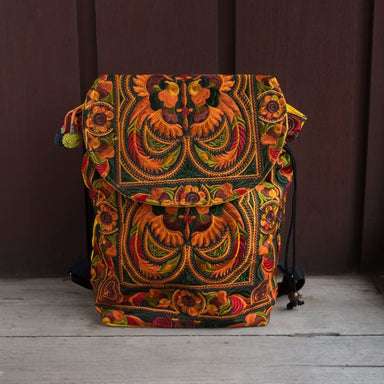 Embroidered Orange Hmong Backpack in Fabric - Backpacks