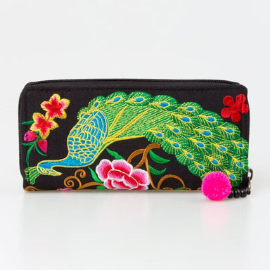Embroidered Peacock Hmong Wallet in Black Fabric - Wallets
