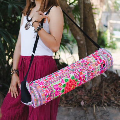 Embroidered Pink Hmong Yoga Bag in Fabric - Yoga Bags
