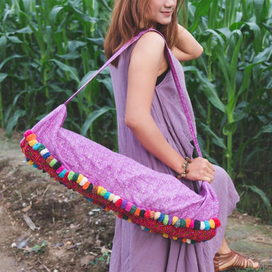 Embroidered Purple Hmong Yoga Bag in Fabric - Yoga Bags