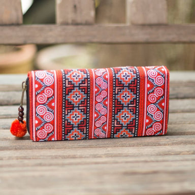 Embroidered Red Hmong Wallet in Fabric - Wallets