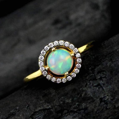 Ethiopian Opal Gemstone Gold Plated Ring - Rings