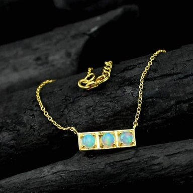 Ethiopian Opal Gold Plated Necklace - Necklaces