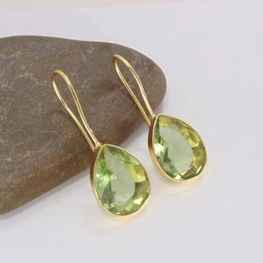 Faceted Green Amethyst Gemstone Teardrop Earrings - Earrings