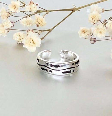 Fish Engraving Toe Ring in Sterling Silver - Rings