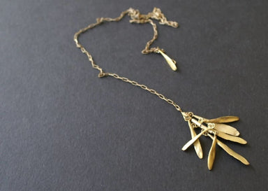 Gold Color Leaves Design Necklace in Brass - Necklaces