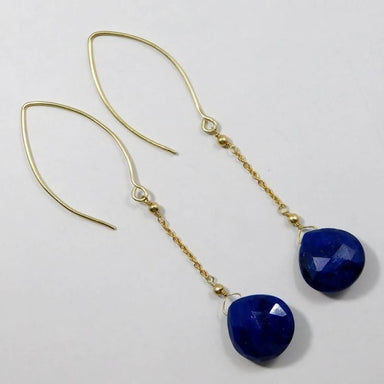 Gold Plated Earrings with Blue Sapphire Gemstone - Earrings