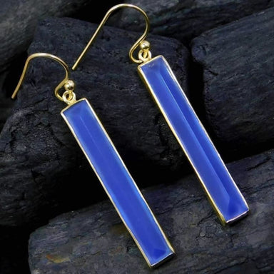 Gold Plated Earrings with Faceted Chalcedony Drop gemstones - Earrings