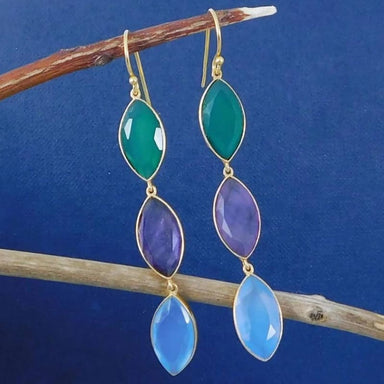 Gold Plated Earrings with Faceted Multi colored Gemstone Drops - Earrings