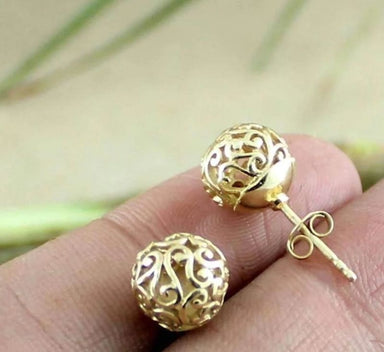 Gold Plated Earrings with filigree Design - Earrings