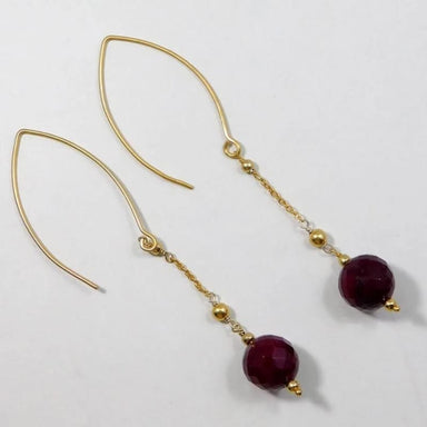 Gold Plated Earrings with Ruby Gemstone - Earrings