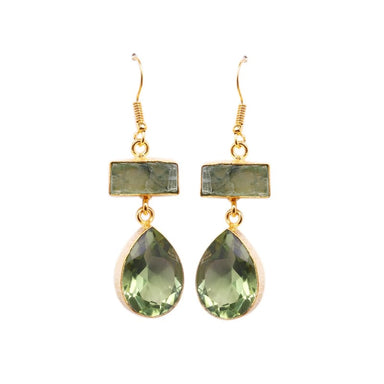 Gold Plated Kyanite And Green Amethyst Gemstone Earrings - Earrings