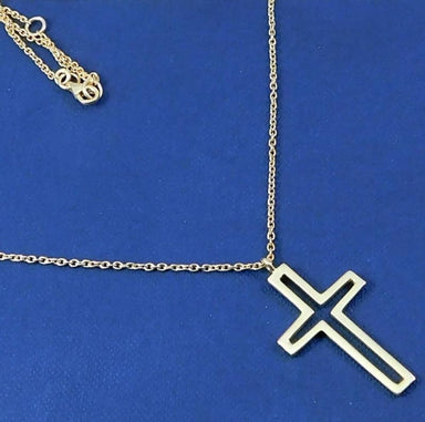 Gold Plated Necklace with Gold Cross Sign Pendant - Necklaces