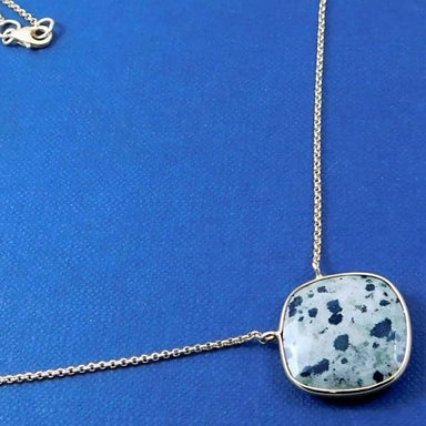 Gold Plated Necklace with Dalmation Jasper Gemstone - Necklaces