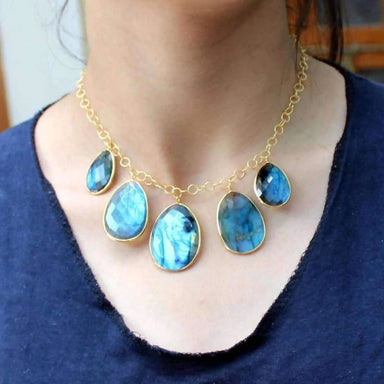 Gold Plated Necklace with Firey Labradorite Gemstone - Necklaces