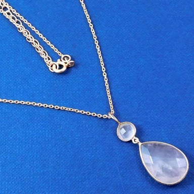 Gold Plated Necklace with Rose Quartz Gemstone - Necklaces