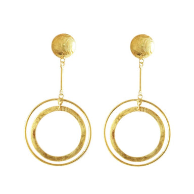 Gold Plated Ovar Brass Dangle Earrings - Earrings