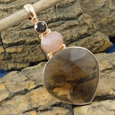 Gold Plated Pendant with Smoky Quartz Pink Opal Rose gemstones - Necklaces