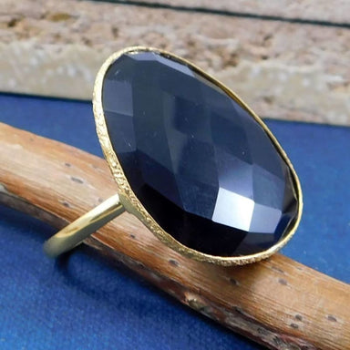 Gold Plated Ring with Checkercut Black Onyx Gemstone - Rings
