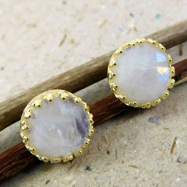 Gold Plated Stud Earrings witn Rainbow Moonstone Gemstone - Earrings