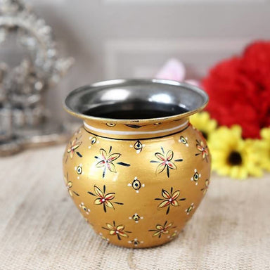 Golden Hand Painted Pot in Steel - Title - Home Decor