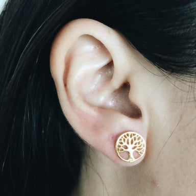 Golden tree of life stud Earrings - Earrings