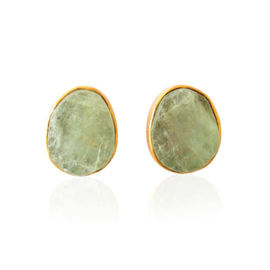 Green Aquamarine Gemstone Stud Earrings - Earrings