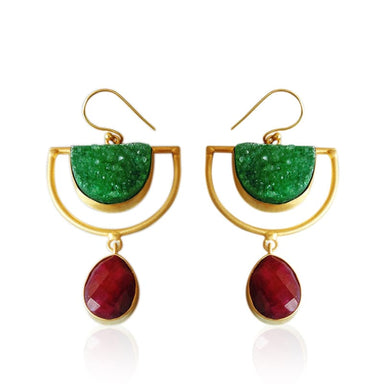 Green Druzy And Ruby Gemstone Dangle Earrings - Earrings