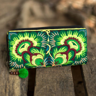 Green Embroidered Hmong Wallet in Fabric - Wallets
