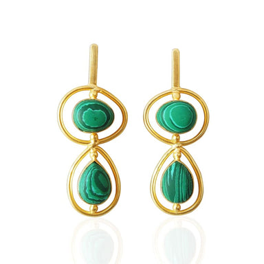 Green Malachite Gemstone Dangle Earrings - Earrings