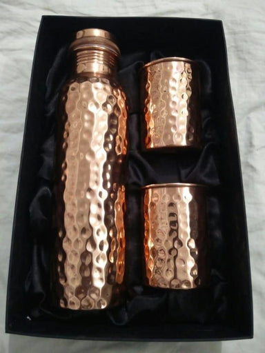 Hammered Copper Water Bottle with Two Drinking Cups - Kitchen Decor