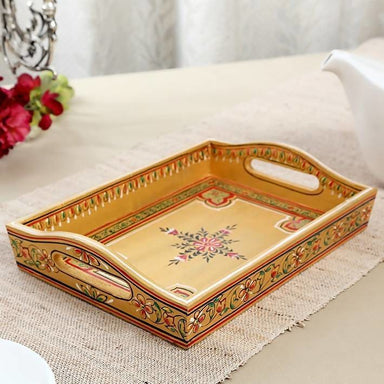 Hand Painted Golden Tray in Wood - Title - Kitchen Decor