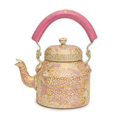 Hand Painted Pink Pond Tea Pot in Aluminium - Title - Painted Teapots