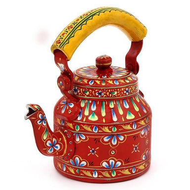 Hand Painted Red Tea Pot in Aluminium - Title - Painted Teapots