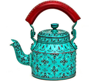 Handcrafted Kaushalam Teapot: Vibrant Blue - Title - Painted Teapots