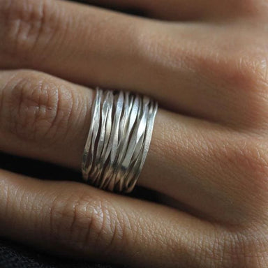 Handmade Hammered Silver Wire Ring - Rings