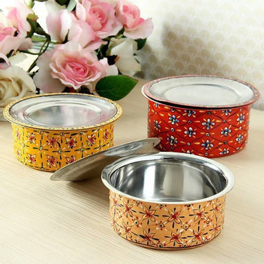 Handmade Multi Color Serving Bowls with Lids in Stainless Steel - Kitchen Decor