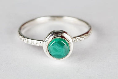 Handmade Natural Malachite 925 Sterling Silver Gemstone Ring - Rings