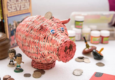 Handmade Pink Piggy Bank in Upcycled Newspaper - Accessoiries