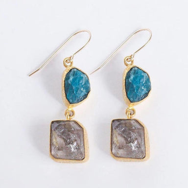 Herkimer Diamond And Raw Apatite Gemstone Dangle Earrings - Earrings