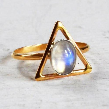High Quality Rainbow Moonstone Silver Ring - Rings