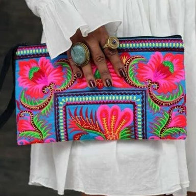 Hmong Colorful Floral Clutch - Clutches