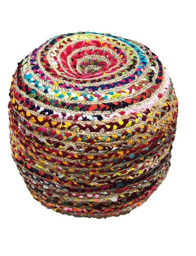 Indian Handmade Hand Brided Bohemian Color full Cotton Round Chindi Jute Pouf