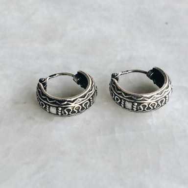 Silver bali style hoop earrings