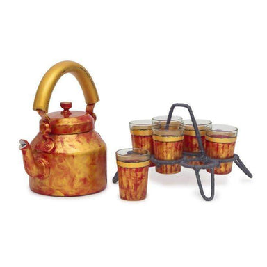 Kaushalam Tea Kettle with six glasses and stand: Antiqua Fiery Red - Title - Painted Teapots