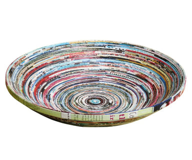 Large Recycled Magazine Bowl Made Using Upcycled Magazine Paper (diameter 30cm) - Home Decor