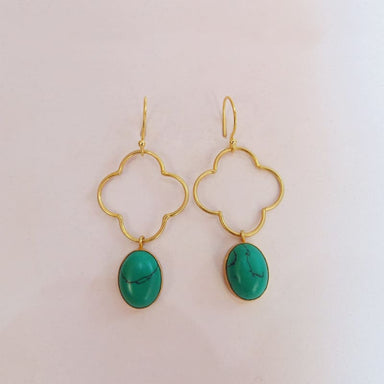 Malachite Gemstone Oval Earrings - Earrings